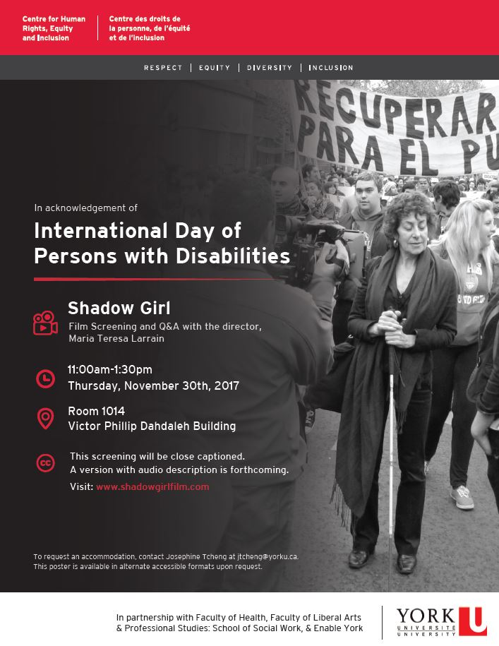 "Film Screening: ""Shadow Girl"" - International Day of Persons with Disabilities @ Room 1014 Victor Phillip Dahdaleh Building 