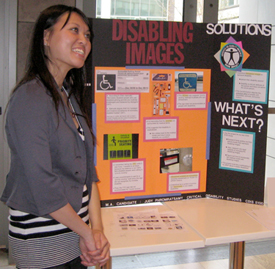 a critical disability studies Master's student with a poster presentation from one of her courses